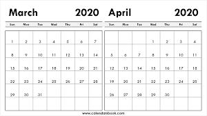 Print March April 2020 Calendar Template 2 Month Calendar