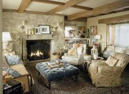 living room french country furniture rug along rustic table cabinet between windows blue cushion patterned the