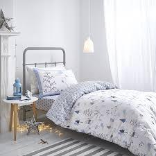 home bianca cotton soft nordic duvet cover set blue single