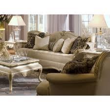 michael amini lavelle blanc wood trim tufted sofa by aico in