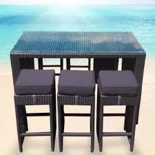 Outdoor Bar Table U0026 6 Stools  Rattan Wicker