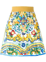 dolce gabbana majolica print a line skirt women clothing d g dresses new collection