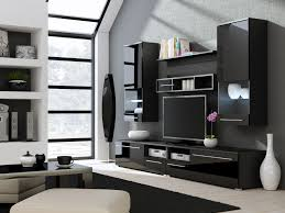 Living Room Tv Set Interior Design Tv On The Black Wall Panel Combined With Light Brown Wooden Two
