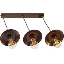 reznor industrial steampunk triple bar pendant ceiling light antique brass