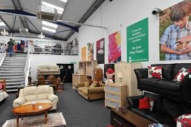 The shop operates on a plush split level and sells quality second hand  furniture as well