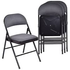metal folding chairs with padded seats. Beautiful Metal Set Of 4 Folding Chairs Fabric Upholstered Padded Seat Metal Frame Home  Office And With Seats 0