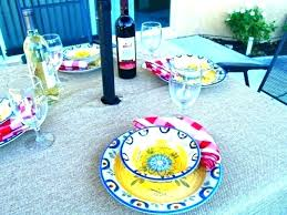 round outdoor tablecloth with elastic patio table tablecloths beautiful cover hole for umbrella edge