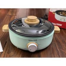 Nồi lẩu nướng điện Kims Cook mini màu xanh , inox 304 đa năng 3 trong 1 (  nấu lẩu , làm lò nướng , nấu thức ăn ) giá cạnh tranh