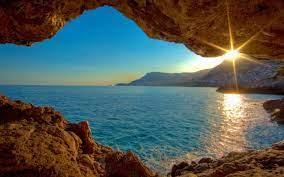 sunset sea cave-Nature landscape ...