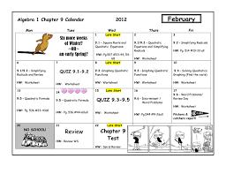 geometry chapter 5 calendar