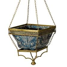 Hanging Planter Bombay Outdoors Gold Chloe Hanging Planter With Blue Liner A100034