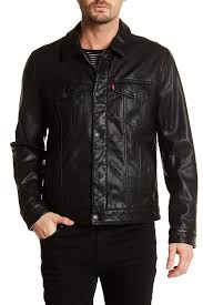 image of levi s classic faux leather trucker jacket