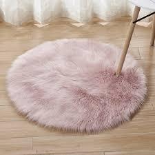 Faux Plush <b>Floor</b> Mats Living Room Plain <b>Round</b> Home Decoration ...