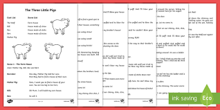 the 3 little pigs playscript ks1 english playscript drama year 1