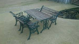 cast iron garden furniture set bench table chairs