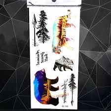 медведь тигр дерево лес дизайн временные татуировки наклейки для женщин мужчины