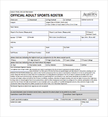 Roster Template Custom 48 Sports Roster Templates Sample Templates