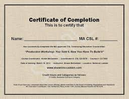 Completion Certificate Sample Format Of Course Completion Certificate Under Fontanacountryinn Com