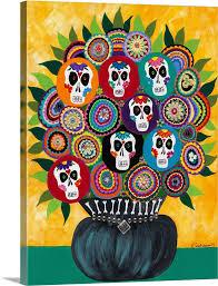 sugar skull bouquet wall art canvas