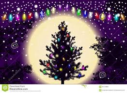 Falling Christmas Tree Lights Abstract Falling Snow New Year Christmas Tree With Lights