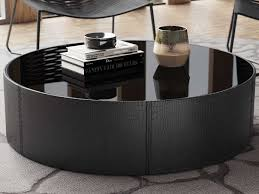 The most common black coffee table material is cotton. Modloft Berkeley Black Glass 43 Wide Round Coffee Table Molmcy19100c8v5