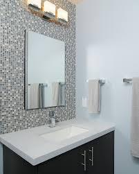 Glass Tiled Wall Behind Vanity HouseBasement Bathroom - Glass tile bathrooms