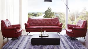 Living Room Sofa And Chair Sets Eiffel Italian Leather Sofa And Lounge Chair Set Red Zuri Furniture