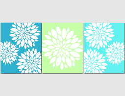 Lime Green Bedroom Decor Aqua Teal Lime Green Wall Art Home Decor Flower Burst Floral