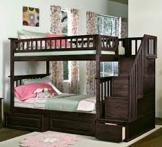 furniture black wooden bunk bed with stairs and storage drawers on the rug connected by
