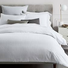grey and white striped duvet cover. Interesting Duvet Organic Washed Cotton Stripe Duvet Cover  Shams  Slate Throughout Grey And White Striped H