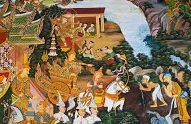 Traditional Thai Mural Painting Of The ...