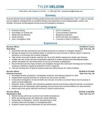 Resume Sample Security Guard