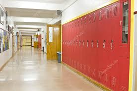 hallway at school. an empty highschool hallway with red lockers on the right side u2014 photo by vlue at school