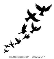bird flying silhouette. Perfect Silhouette Bird Flock Vector Flying Birds Silhouettes Hand Drawn Songbirds On Flying Silhouette I