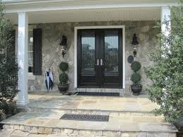 the double entry doors with glass