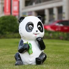 panda statue cartoon panda garden ornaments set panda cubs outdoor ornaments