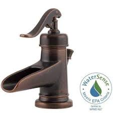 centerset single handle bathroom faucet in rustic bronze