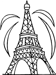 Small Picture Fireworks and Eiffel Tower Coloring Page Download Print Online