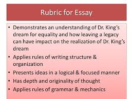 martin luther king art writing contest theme leaving a legacy  rubric for essay demonstrates an understanding of dr