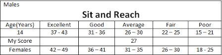 Sit And Reach Test Chart Flexibility Fitness
