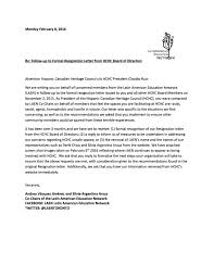 Resignation From Board Follow Up To Formal Resignation Letter From Hchc Board Of