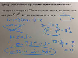 mat 0028 aleks module 6 solving a word problem using a quadratic equation with rational roots algebra showme