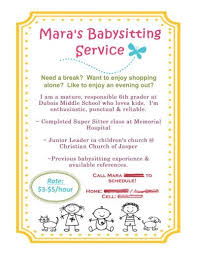 babysitting jobs babysitting flyer using mds mom babysitting flyers