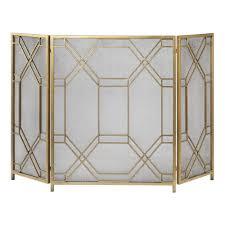 geometric lattice metal fireplace screen antique gold