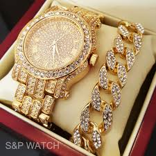 men hip hop iced out gold tone simulated diamond watch cuban bracelet gift set ebay