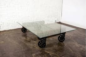 Industrial Glass Coffee Table Industrial Coffee Table Wheels Free Image