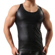 y men s t shirt black faux leather short sleeve pu undershirt tank top