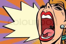 close up face pop art woman screaming rage ic book cartoon retro vector ilration drawing vector
