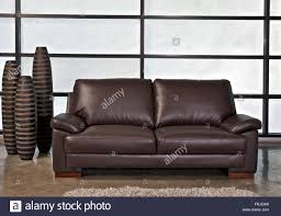 leather office couch. Brown Leather Sofa For Home Or Office - Stock Image Couch U