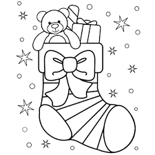 Small Picture Little Teddy Bear in Christmas Stockings Coloring Pages NetArt